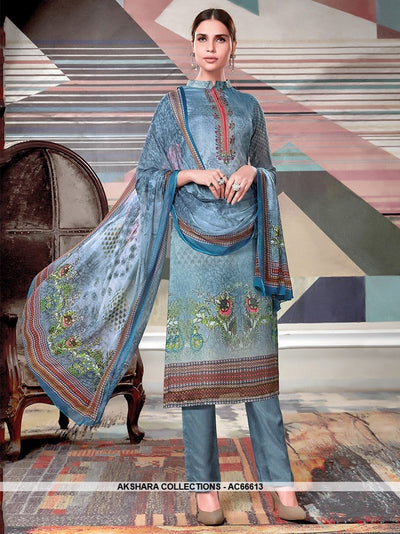 AC66613 - Steel Blue Color Crepe Georgette Salwar Kameez