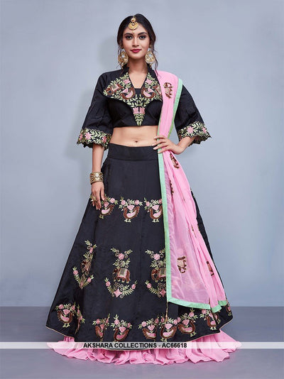 AC66618 - Black Color Art Silk Lehenga Choli