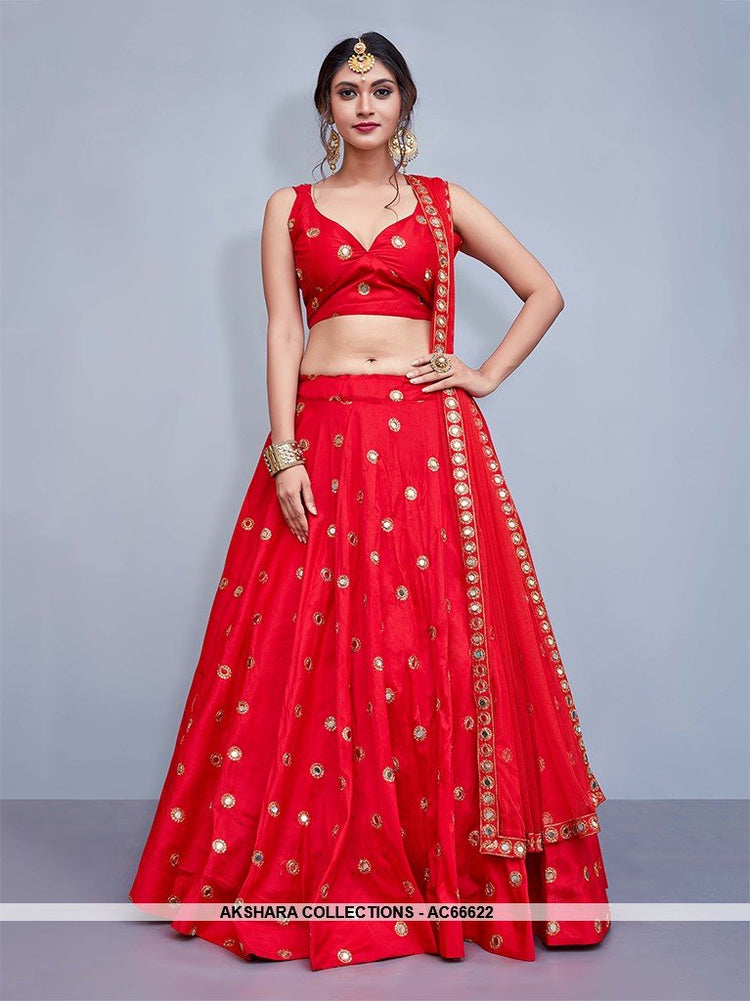 AC66622 - Red Color Art Silk Lehenga Choli