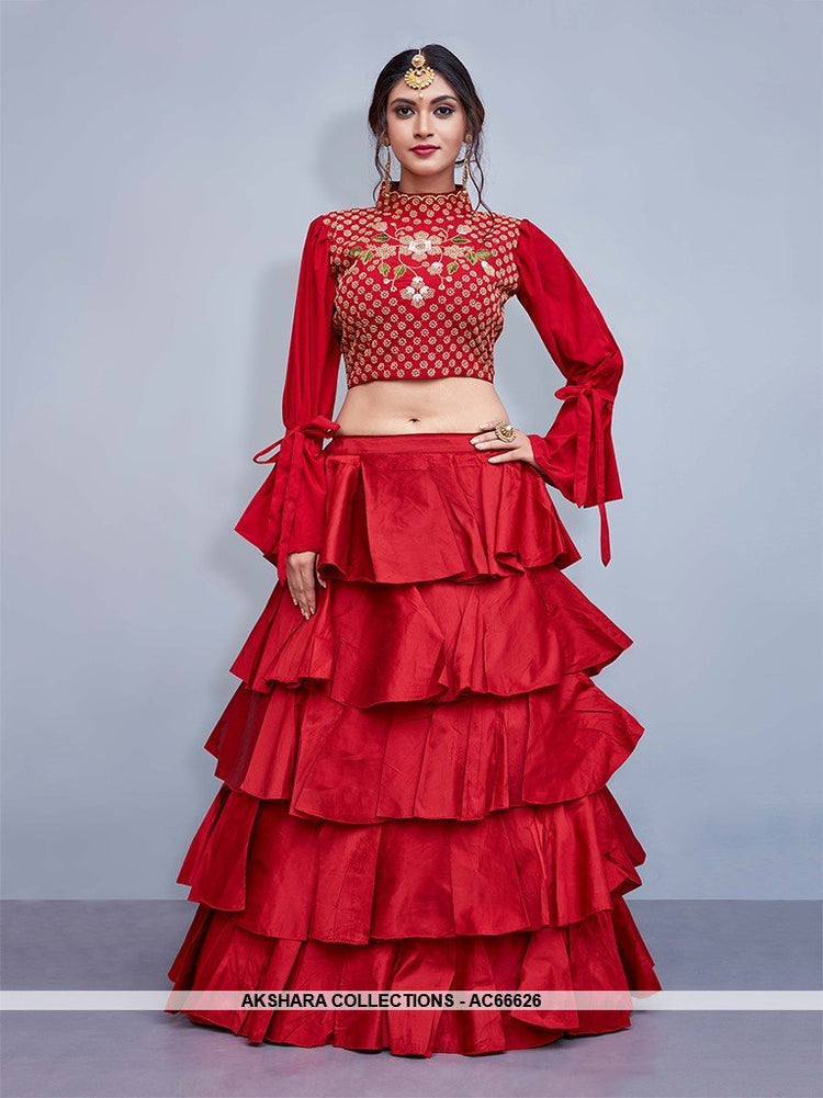 AC66626 - Red Art Silk Lehenga Choli