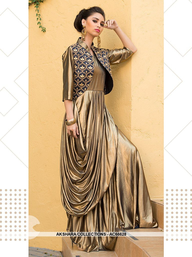 AC66628 - Gold Color Lycra Gown