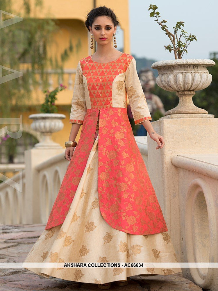 AC66634 - Orange and Cream Color Art Silk Gown