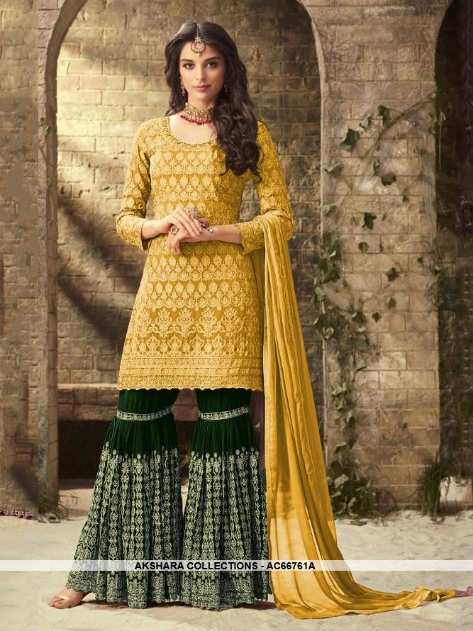 1a3c962431 AC66761A - Yellow Color Heavy Georgette Sharara Suit – Akshara Collections
