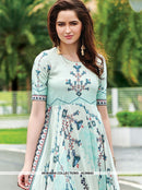 AC66843 - Light Cyan Color Maslin Cotton Gown