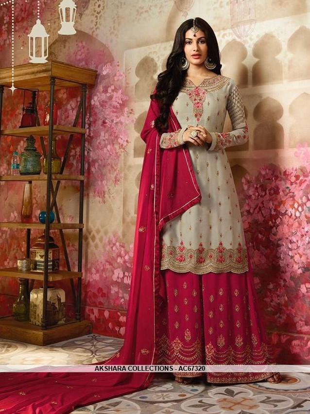 52fad4d748 AC67320 - Grey Color Satin Georgette Sharara Suit – Akshara Collections