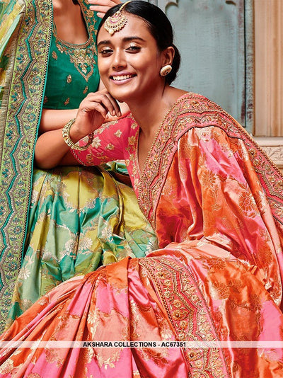 AC67351 - Orange and Pink Color Banarasi Jaquard Silk Saree