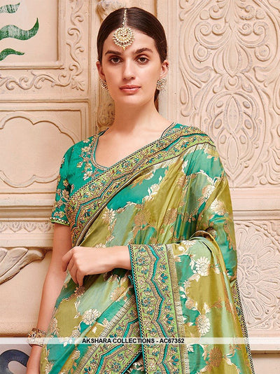 AC67352 - Green Color Banarasi Jaquard Silk Saree