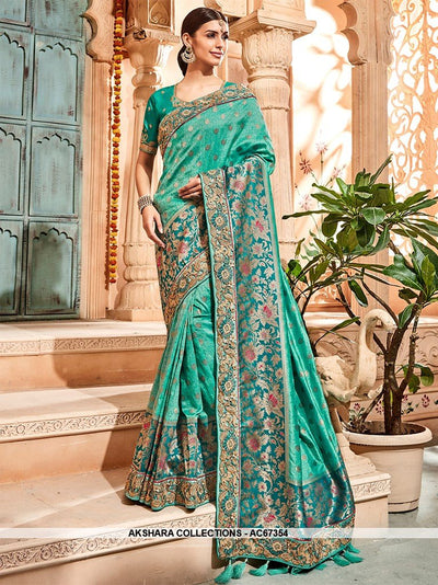 AC67354 - Light Sea Green Color Banarasi Jaquard Silk Saree