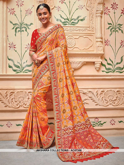 AC67356 - Orange Color Banarasi Jaquard Silk Saree