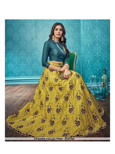 AC67540 - Yellow Color Pure Banarasi Silk Lehenga Choli