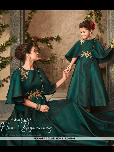 AC67561 - Pine Green Color Satin Silk Gown