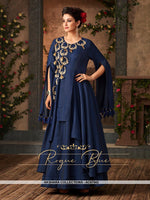AC67562 - Royal Blue Color Satin Silk Gown