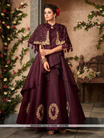 AC67565 - Wine Color Satin Silk Gown