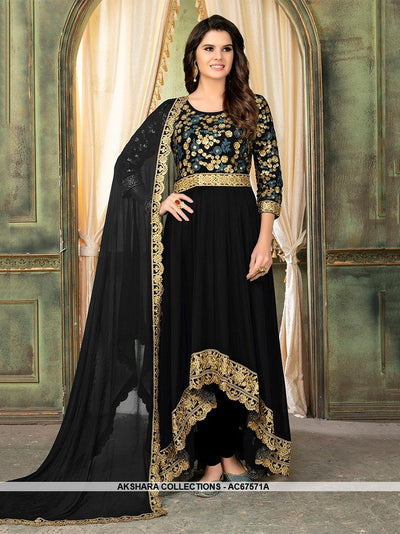 AC67571C - Navy Blue Color Georgette Anarkali Suit