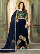 AC67571B - Teal Blue Color Georgette Anarkali Suit