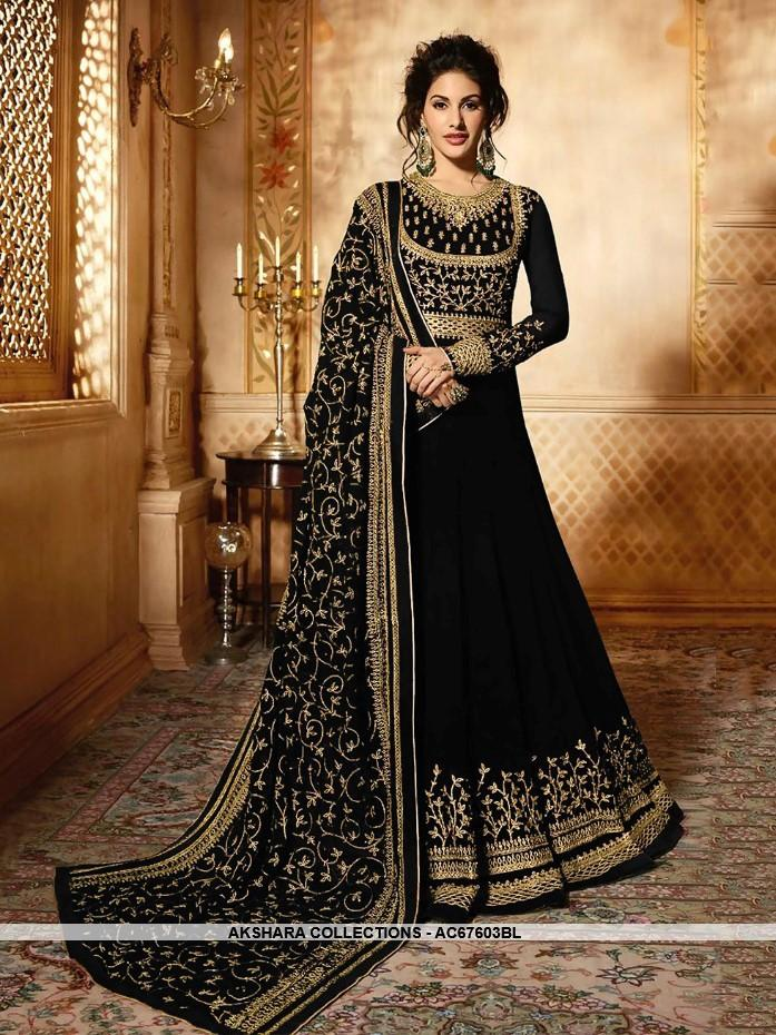 AC67603BL - Black Color Heavy Georgette Anarkali Suit