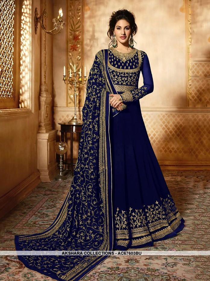 AC67603BU - Blue Color Heavy Georgette Anarkali Suit