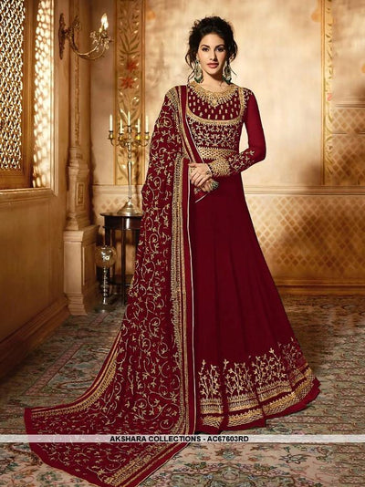 AC67603RD - Red Color Heavy Georgette Anarkali Suit