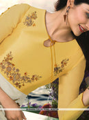 AC67755 - White and Yellow Color Satin Georgette Kurti