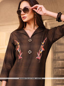 AC67789 - Brown Color Cotton Kurti