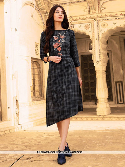 AC67790 - Black Color Cotton Kurti