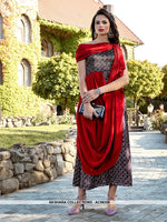 AC68358 - Red and Purple Color Satin Kurti