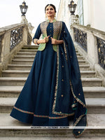 AC68384 - Navy Blue and Green Color Art Silk and Jacquard Gown