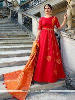 AC68387 - Red Color Art Silk Gown