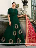 AC68390 - Pine Green Color Art Silk Gown