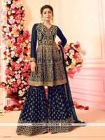 AC68728B - Navy Blue Color Georgette Sharara Suit