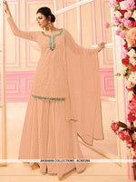 AC68729A - Peach Color Georgette Sharara Suit