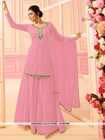 AC68729B - Light Pink Color Georgette Sharara Suit