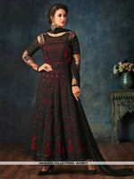 AC69011 - Black and Red Color Net Anarkali Suit