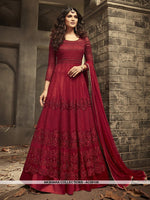 AC69106 - Red Color Net Anarkali Suit