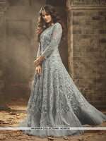 AC69110 - Grey Color Net Anarkali Suit