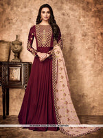 AC69156A - Maroon Color Georgette Anarkali Suit