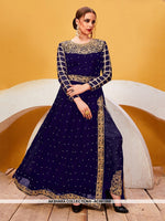 AC69158B - Blue Color Georgette Anarkali Suit