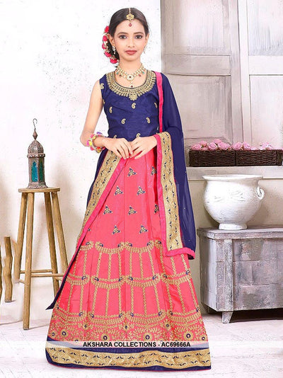 AC69666B - Navy Blue Color Silk Lehenga Choli