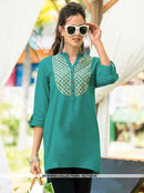 AC71423D - Dark Green Color Rayon Slub Top