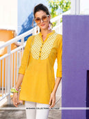 AC71423F - Yellow Color Rayon Slub Top
