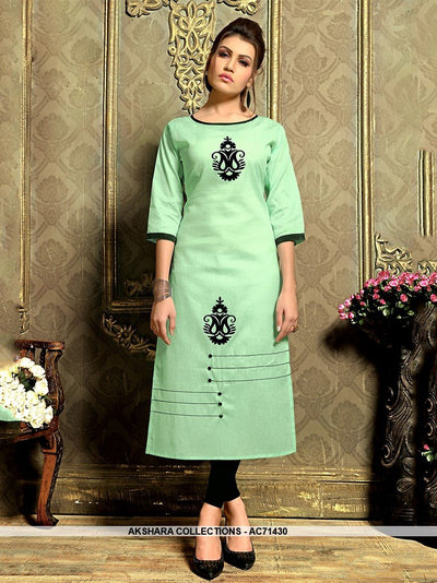 AC71430 - Pista Green Color Khadi Cotton Kurti