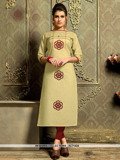 AC71434 - Dark Khaki Color Khadi Cotton Kurti