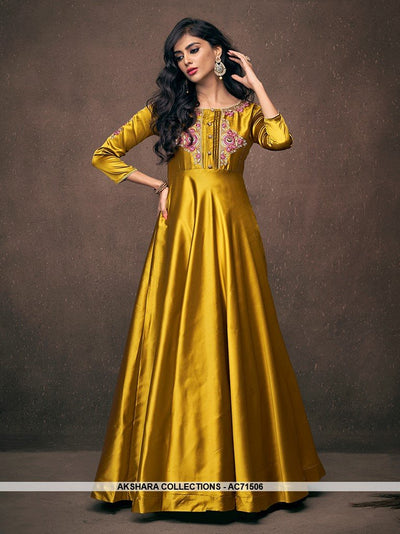 AC71506 - Yellow Color Satin Silk Gown