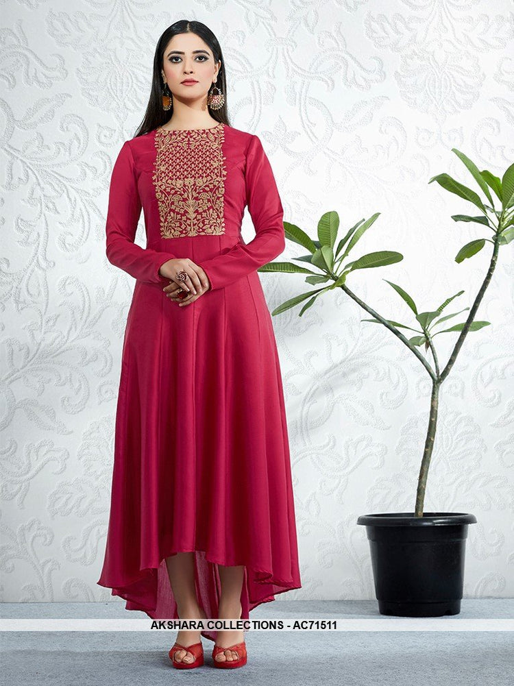 AC71511 - Red Color Modal Satin Kurti