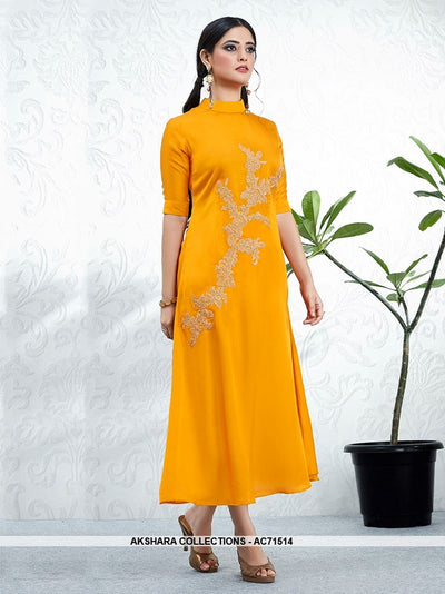 AC71514 - Orange Color Modal Satin Kurti