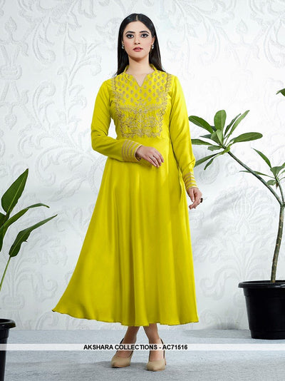 AC71516 - Parrot Green Color Modal Satin Kurti