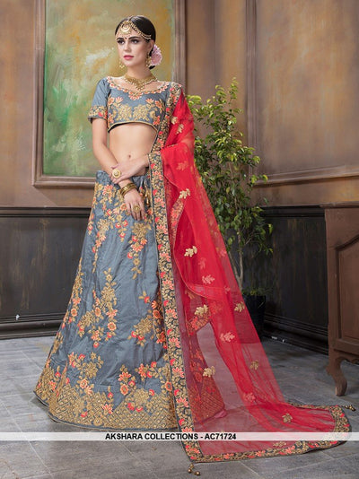 AC71724 - Grey Color Satin Silk Lehenga Choli