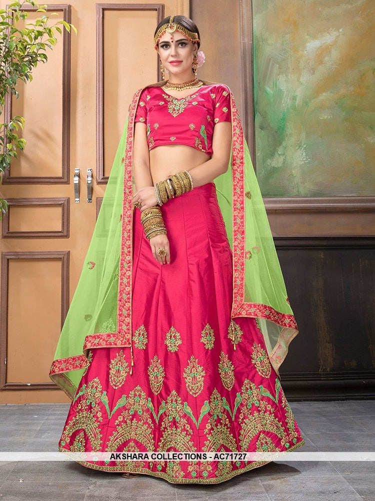 AC71727 - Pink Color Satin Silk Lehenga Choli