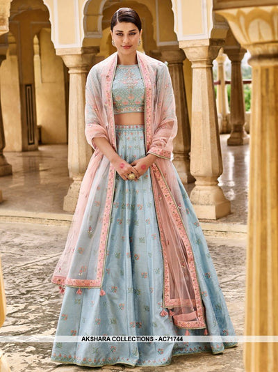 AC71744 - Sky Blue Color Mulberry Silk Lehenga Choli
