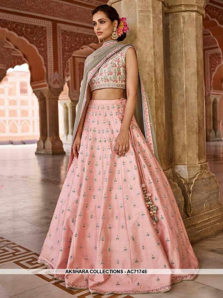 AC71745 - Light Pink Color Mulberry Silk Lehenga Choli